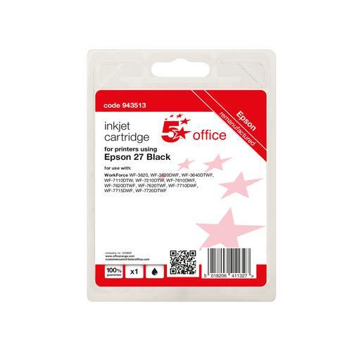 5 Star Office Remanufactured Inkjet Cartridge Black [Epson 27 Alternative]