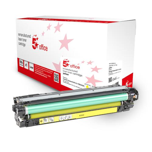 5 Star Office Remanufactured Toner Cartridge Page Life 16000pp Yellow [HP 651A Alternative CE342A]