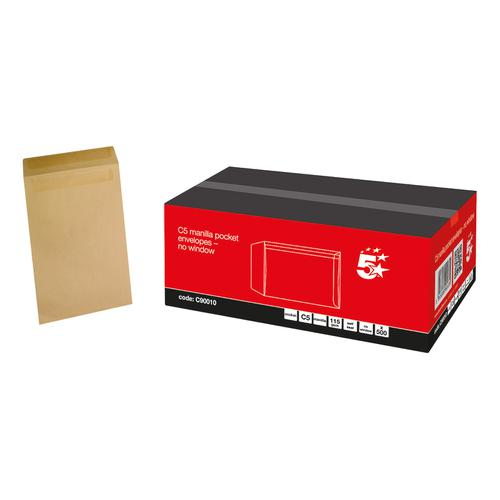 5 Star Office Envelopes FSC Pocket Self Seal 115gsm C5 229x162mm Manilla [Pack 500]