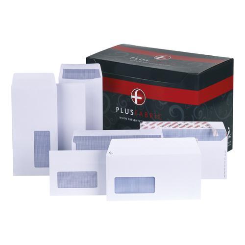 Plus Fabric Envelopes PEFC Wallet Self Seal 120gsm DL 220x110mm White Ref H25470 [Pack 500]