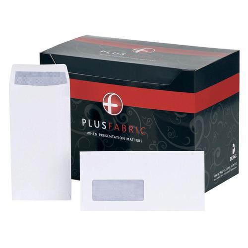 Plus Fabric Envelopes PEFC Pocket Peel and Seal Window 120gsm DL 220x110mm White Ref J26671 [Pack 500]