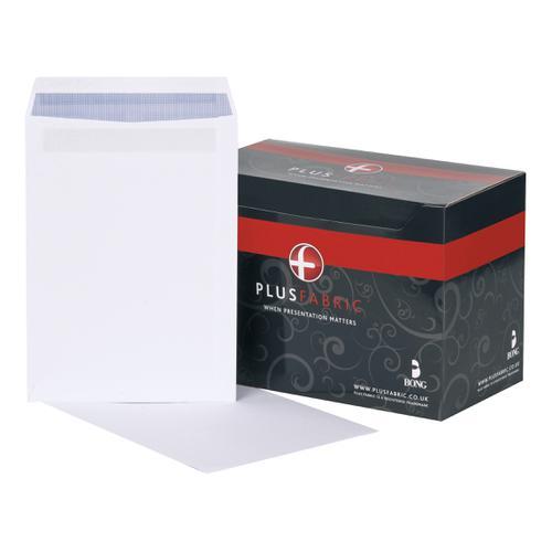 Plus Fabric Envelopes PEFC Pocket Self Seal 120gsm C4 324x229mm White Ref L26370 [Pack 250]