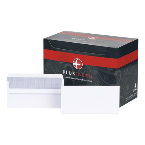Plus Fabric Envelopes PEFC Wallet Self Seal 120gsm DL 220x110mm White Ref M23270 [Pack 250]