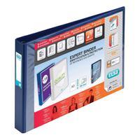 Elba Vision Ring Binder PVC Clear Front Pocket 4 D-Ring A3 Landscape 30mm Blue Ref 100082460 [Pack 2]