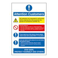 Attention Customers COVID19 Action Notice 200x300mm Semi Rigid Plastic