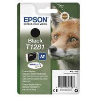 Epson T1281 Inkjet Cartridge Fox Page Life 190pp 5.9ml Black Ref C13T12814012