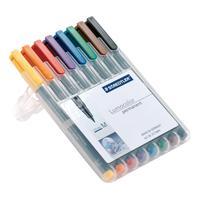 Staedtler 318 Lumocolor Permanent Pen Fine 0.6mm Line Wallet Assorted Colours Ref 318WP8 [Pack 8]