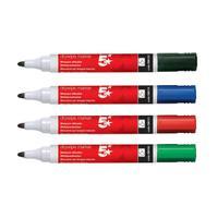 5 Star Office Drywipe Marker Xylene/Toluene-free Bullet Tip 3mm Line Wallet Assorted [Pack 12]
