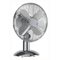 5 Star Facilities Desk Fan 12 Inch 90deg Oscillating 48.5Db 3-Speed 45 Watts H615mm Dia.305mm Chrome