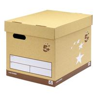 5 Star Elite FSC Superstrong Archive Storage Box & Lid Self-assembly W313xD415xH326mm Sand [Pack 10]