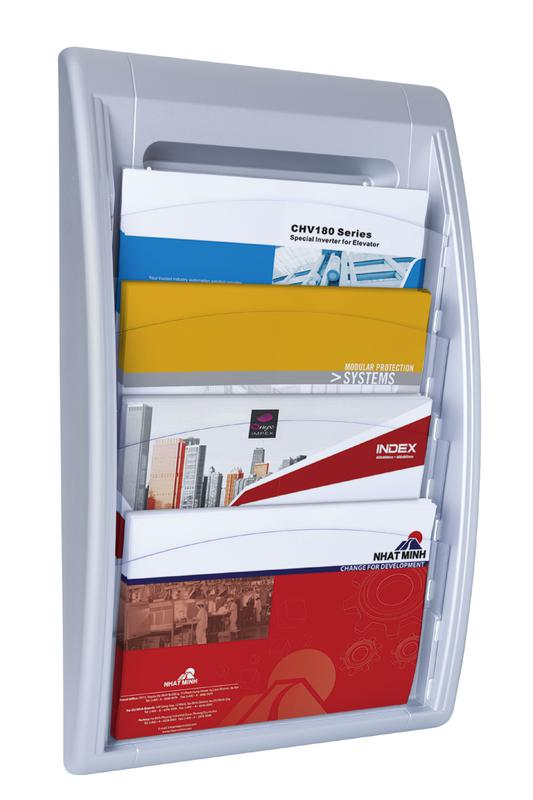 Fast Paper Oversized Quick Fit Wall Display Literature Holder Silver