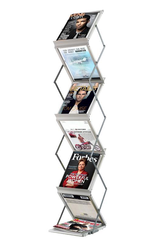 Fast Paper Literature Display Folding Floor Standing 6 Shelves A4 Portrait Silver