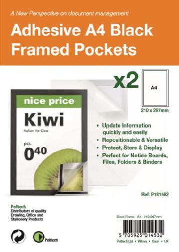 S/Adhesive A4 Black Display Frames with Magnetic Closure Pk2