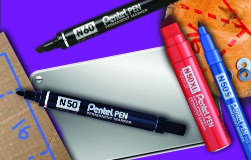 Pentel N50 Permanent Marker Bullet 4.3mm Tip 2.2mm Line Black Ref N50-A [Pack 12]