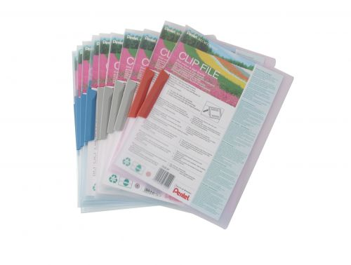Pentel Recycology A4 Clip Files Assorted PK10