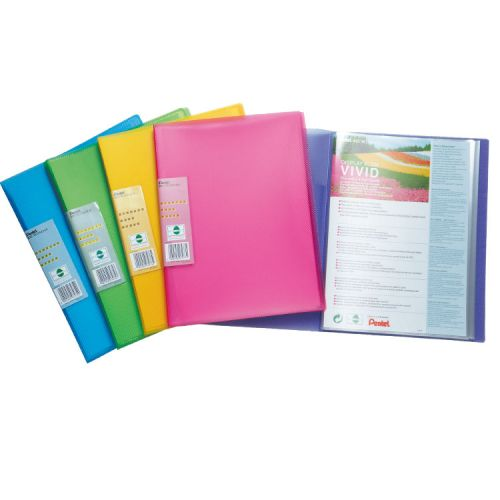 Pentel Recycology Vivid A4 Display Book 30Pockets Asst PK5