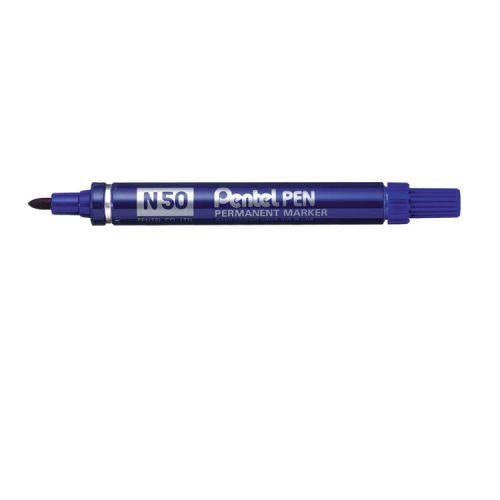 Pentel N50 Permanent Marker Bullet Tip Blue PK12
