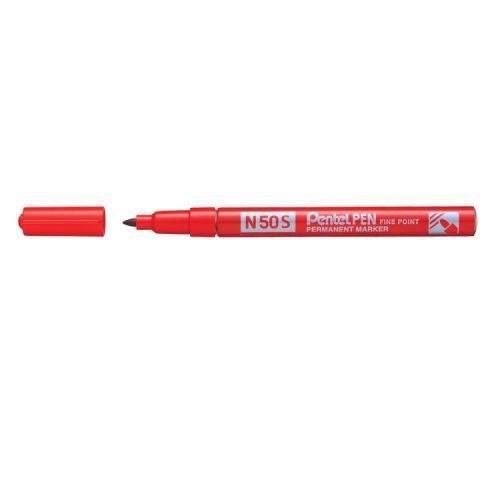 Pentel N50S Fine Perm Marker Red PK12