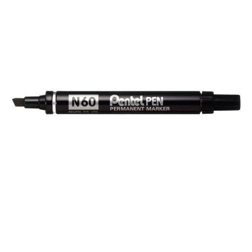 Pentel N60 Permanent Marker Chisel Tip Blk PK12