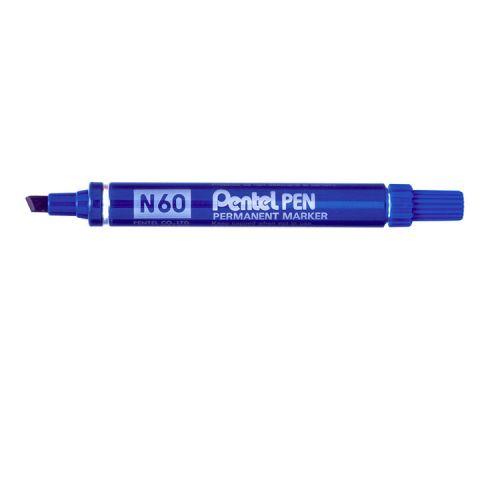 Pentel N60 Permanent Marker Chisel Tip Blue PK12