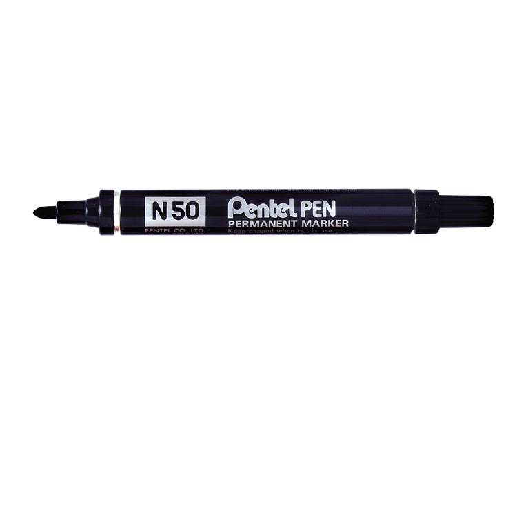 Pentel N50 Permanent Black Bullet Tip Marker (Pack of 12) N50-A