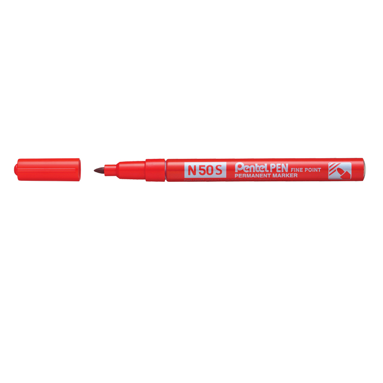 Pentel N50S Fine Bullet Point Permanent Marker Red (Pack of 12) N50S-B