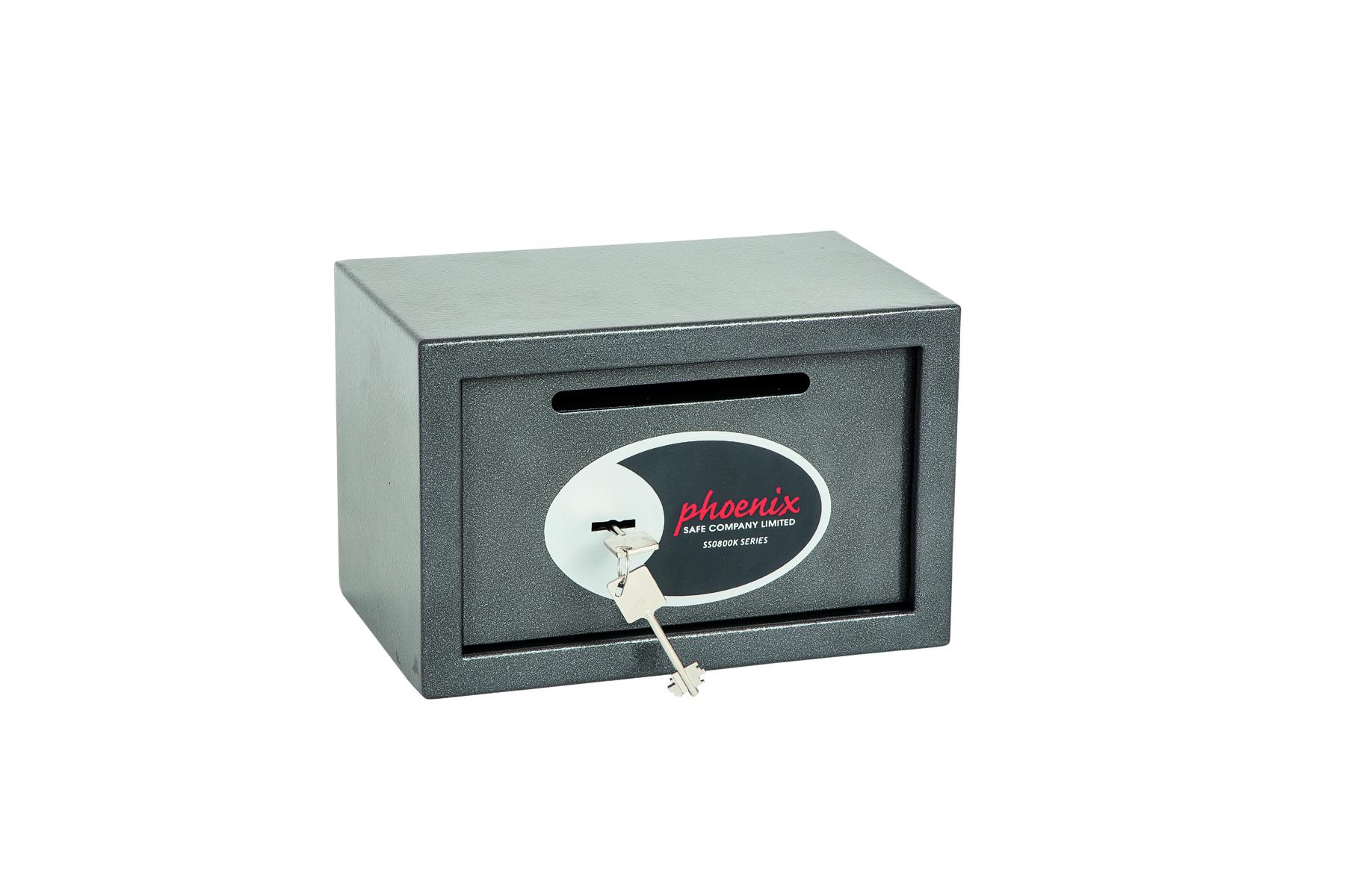 Phoenix Vela Deposit Home and Office Size 1 Safe Key Lock Graphite Grey SS0801KD