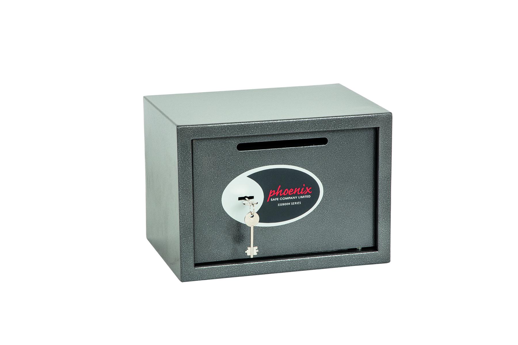 Phoenix Vela Deposit Home and Office Size 2 Safe Key Lock Graphite Grey SS0802KD