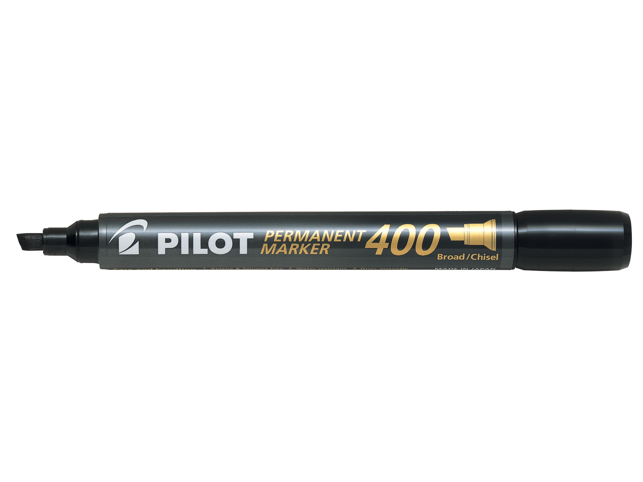 Pilot 400 Permanent Marker Chisel Tip Line 1.5-4.0mm Black Ref 3131910504061 [Pack 15&5 Free]