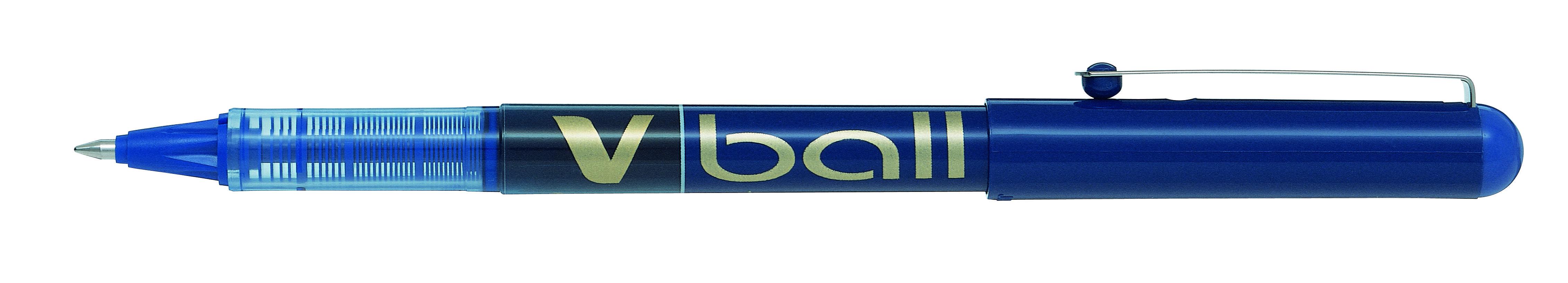 Rollerball Pens Pilot VBall Liquid Ink Rollerball Pen 0.7mm Tip 0.4mm Line Blue (Pack 12)