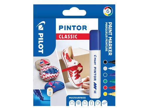 Pilot Pintor Medium Bullet Tip Paint Marker 4.5mm Classic Assorted Colours (Pack 6) 3131910517412