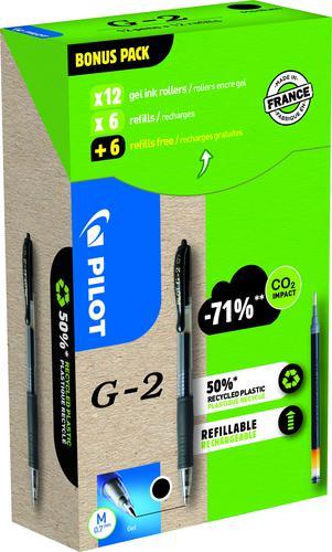 Pilot Greenpack G-207 Retractable Gel Rollerball Pen 0.7mm Tip 0.39mm Line Black (Pack 12 Plus 12 Refills)