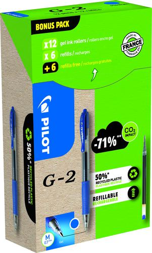 Pilot Greenpack G-207 Retractable Gel Rollerball Pen 0.7mm Tip 0.39mm Line Blue (Pack 12 Plus 12 Refills)