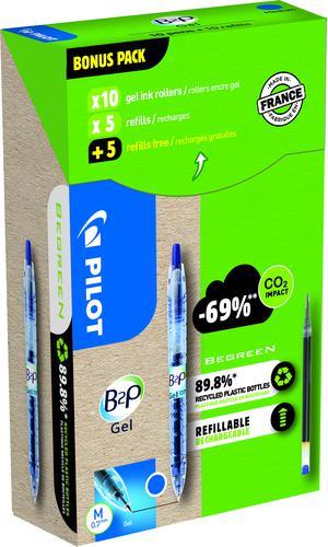 Pilot Greenpack Begreen B2P Retractable Gel Rollerball Pen Recycled 0.7mm Tip 0.39mm Line Blue (Pack 10 Plus 10 Refills)