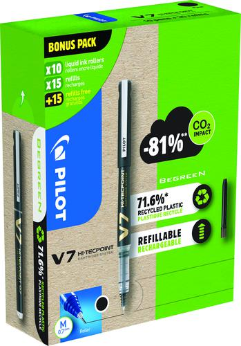 Pilot Greenpack V7 Eco 0.7mm Black 10 Pens and 30 Refills