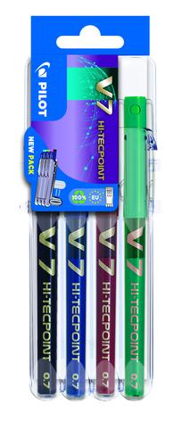 Pilot Set2Go V7 Hi-Tecpoint Liquid Ink Rollerball Pen 0.7mm Tip 0.5mm Line Black/Blue/Green/Red (Pack 4)