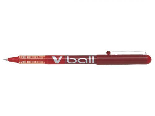 Pilot V-Ball VB5 Rollerball Pen Fine 0.5mm Tip 0.3mm Line Red Ref BLVB502 [Pack 12]