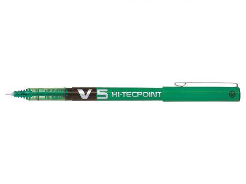Pilot V5 Green Hi Tec Liquid Rollerball 0.5mm PK12