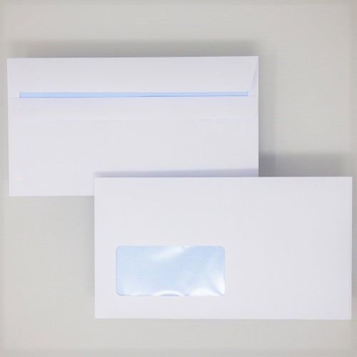 Wallet Self-Seal DL White 100gsm  110 x 220mm Window 39 x 93mm 18 Up 19 Left Blue Hatch Inner Opaque (Box 500) Code ENVDL/1083
