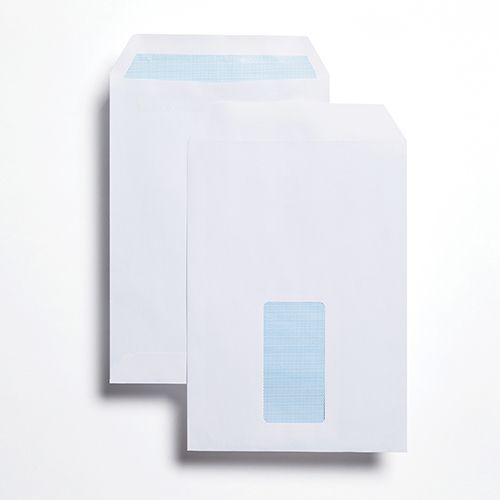 Pocket Self-Seal C5 White 100gsm 229 x 162mm Window 45 x 90mm 60 Up 20 Left Blue Hatch Inner Opaque (Box 500) Code ENVC5/2726