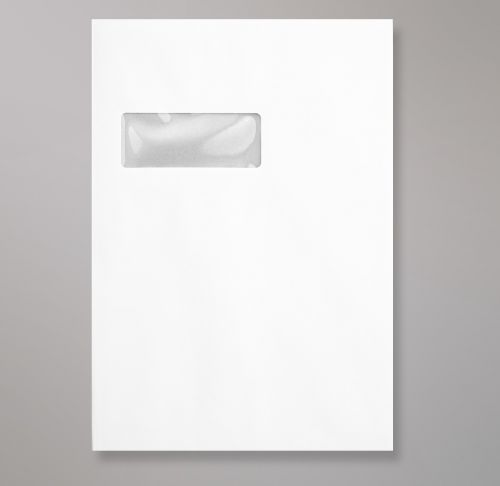 Pocket Peel & Seal C4 Board Back 324 x 229mm White 120gsm Paper 600gsm Grey Board Backed Window 40 x 105mm 213 Up 24 Left (Box 125) Code