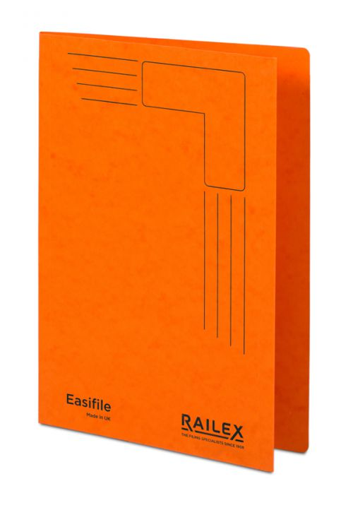 Railex Easifile E7 Foolscap 350gsm Mandarin PK25