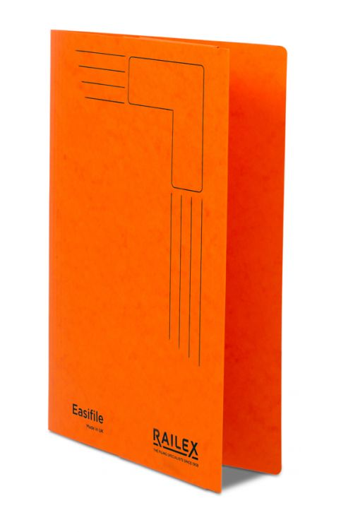 Railex Easifile with Pocket EP7 Foolscap 350gsm Mandarin PK25