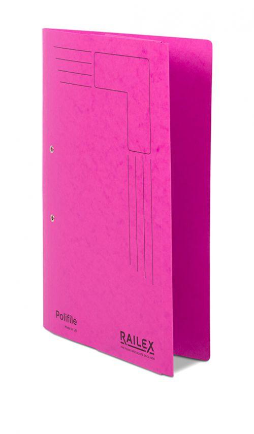 Railex Polifile PL5P Foolscap with Pocket 350gsm Cerise PK25