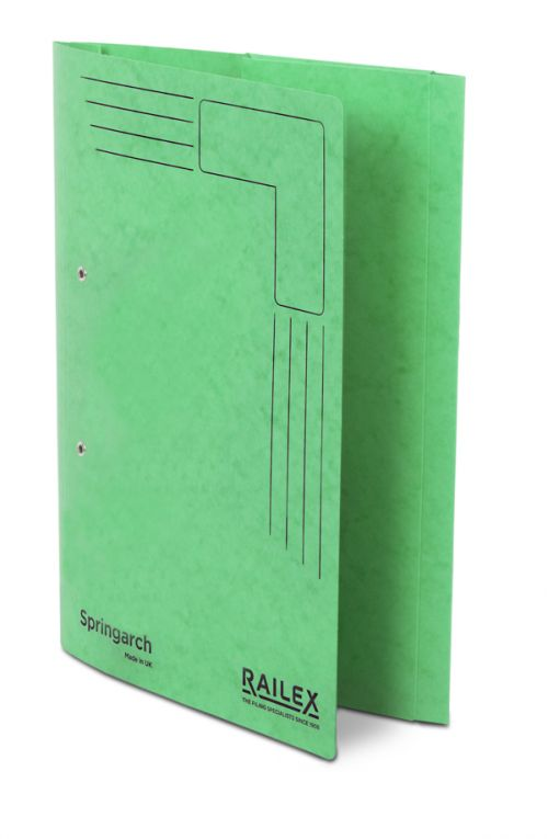 Railex Springarch SA3P Foolscap with Pocket 350gsm Emerald PK25