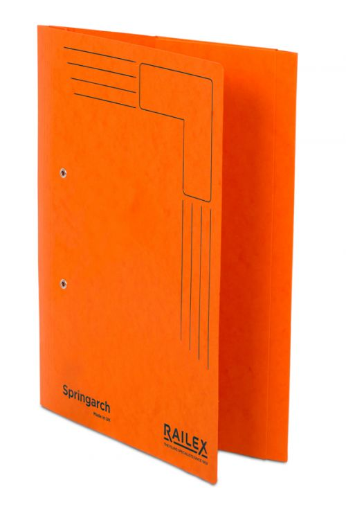 Railex Springarch SA3P Foolscap with Pocket 350gsm Mandarin PK25