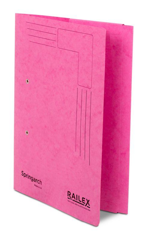 Railex Springarch SA3P Foolscap with Pocket 350gsm Cerise PK25