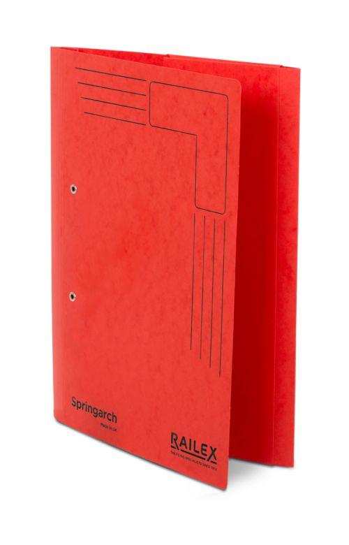 Railex Springarch SA3P Foolscap with Pocket 350gsm Ruby PK25