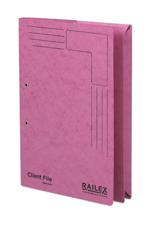 Railex Clientfile CF5P Foolscap 350gsm Cerise PK25