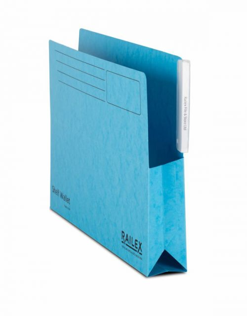 Railex Shelf Wallet with Tab SW5 Foolscap 350gsm Turquoise PK25